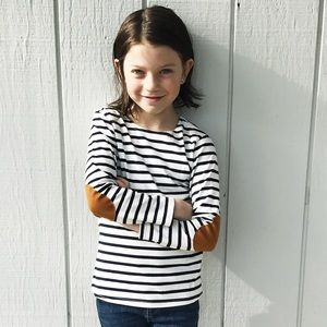 Other - unisex kids french striped tee w/ elbow patches